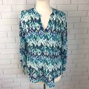 CB S Small blouse top sheer animal blue